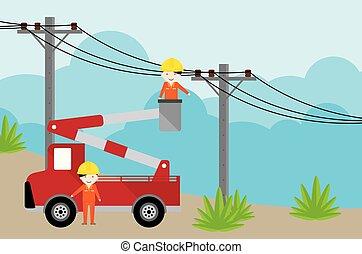 recogedor, electricista, trabajando, electricidad, coche, post., grúa