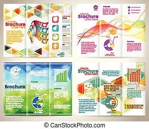 recoger, folletos, diseño, plantilla