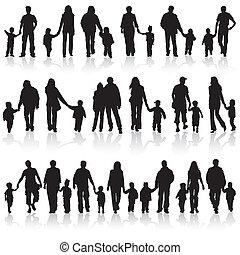 recoger, siluetas, familia