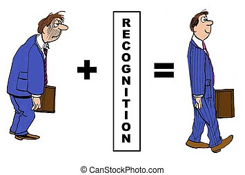 Recognition - Business cartoon showing the positive impact...