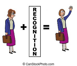Recognition - Business cartoon on the positive impact of...