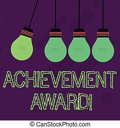 recognizes, différent, photo, business, remarquable, couleur, award., projection, digne, une, note, métier, pendentif, ombre, pendre, showcasing, ampoule, compétence, écriture, accomplissement, lightbulb.