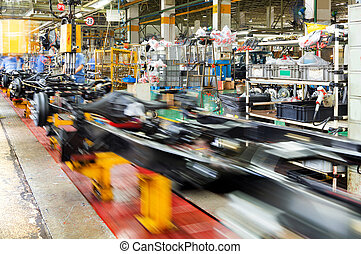 recolección, producción, camión, línea