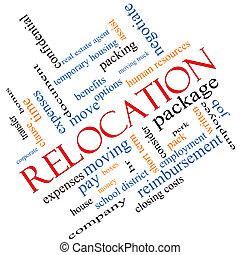 recolocación, concepto, palabra, nube, angular