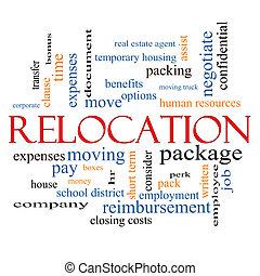 recolocación, concepto, palabra, nube