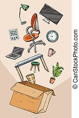 recolocación, oficina, oficina, móvil, caja
