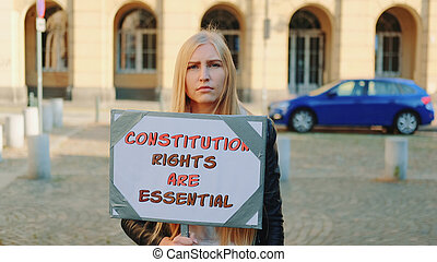 recommander, protestation, femme, protection, walk:, droits constitutionnels
