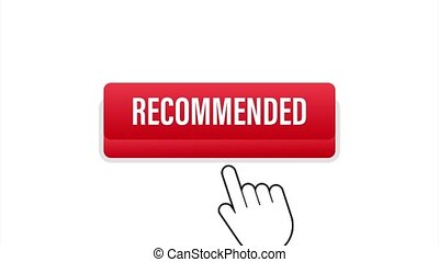 Recommend button. White label recommended on red background. stock illustration