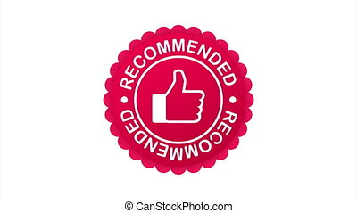 Recommend icon. White label recommended on blue background.  stock illustration