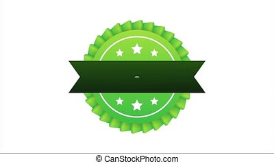 Recommend icon. White label recommended on green background. Stock illustration