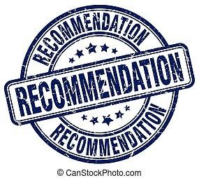recommendation blue grunge stamp