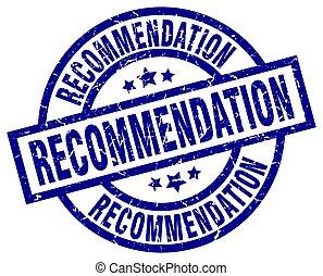 recommendation blue round grunge stamp