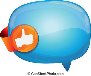 recommendation bubble - with like sign - vector illustration