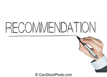 recommendation written by hand, hand writing on transparent...