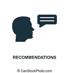 Recommendations icon. Monochrome style design from business ethics icon collection. UI and UX. Pixel perfect recommendations icon. For web design, apps, software, print usage.