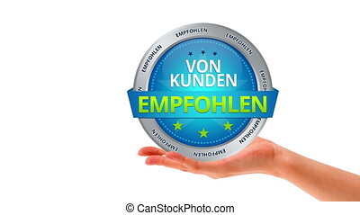 Recommended by customers (german) - A person holding a...