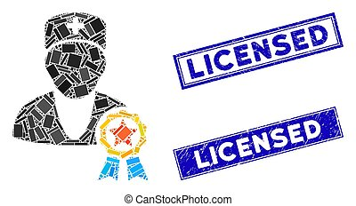 Recommended by Doctors Mosaic and Grunge Rectangle Licensed Stamp Seals