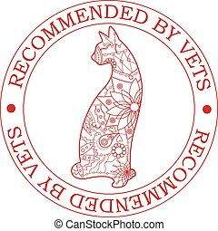 Recommended-by-vets-with-cat - Vector stamp recommended by ...