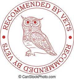 Recommended-by-vets-with-owl - Vector stamp recommended by ...