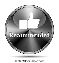 Recommended icon - Glossy shiny glass icon on white ...