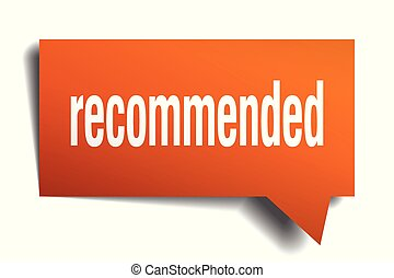 recommended orange 3d speech bubble - recommended orange 3d...