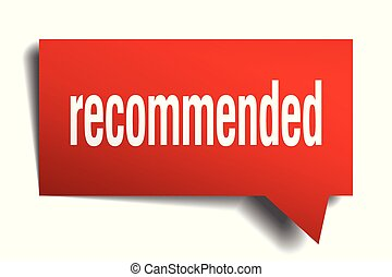 recommended red 3d speech bubble - recommended red 3d square...