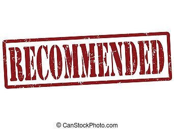 Recommended grunge rubber stamp on white, vector illustration