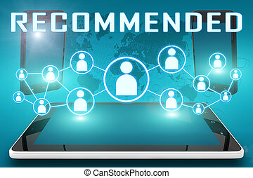 Recommended - text illustration with social icons and tablet...