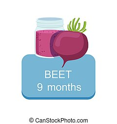 Recommended Time To Feed The Baby With Fresh Beetroot Cartoon Info Sticker With Fresh Vegetable And Puree In Jar