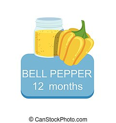 Recommended Time To Feed The Baby With Fresh Bell Pepper Cartoon Info Sticker With Fresh Vegetable And Puree In Jar
