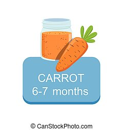 Recommended Time To Feed The Baby With Fresh Carrot Cartoon Info Sticker With Fresh Vegetable And Puree In Jar