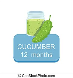Recommended Time To Feed The Baby With Fresh Cucumber Cartoon Info Sticker With Fresh Vegetable And Puree In Jar
