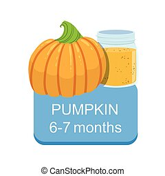 Recommended Time To Feed The Baby With Fresh Pumpkin Cartoon Info Sticker With Fresh Vegetable And Puree In Jar