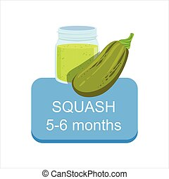 Recommended Time To Feed The Baby With Fresh Squash Cartoon Info Sticker With Fresh Vegetable And Puree In Jar