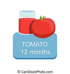 Recommended Time To Feed The Baby With Fresh Tomato Cartoon Info Sticker With Fresh Vegetable And Puree In Jar