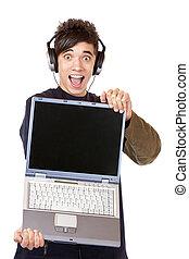 recommends, nadšený, počítač, hudba, mladistvý, zavádění,...