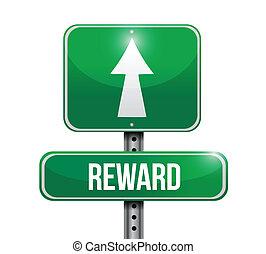 recompensa, desenho, estrada, ilustração, sinal