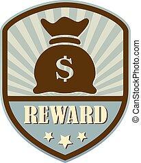 recompensa, estilo retro, protector, etiqueta