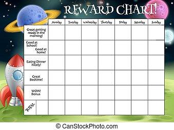 recompensa, tarea, childs, gráfico, o
