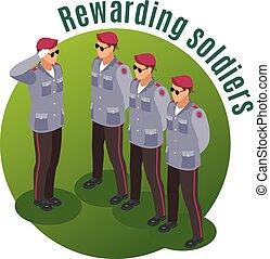 recompensar, soldados, isometric, composição