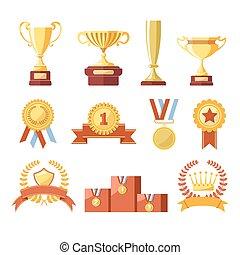 recompensas, copos, vencedor, medalhas, ou, campeão, fitas,...