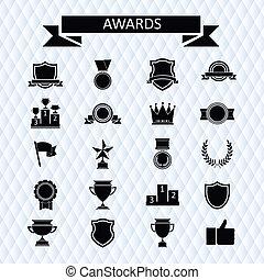 recompensas, e, troféus, jogo, de, icons.