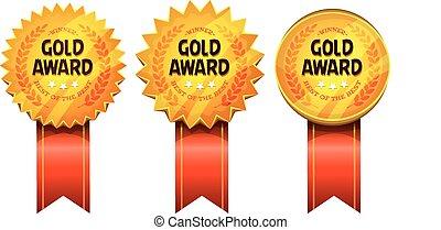 recompensas, fitas, ouro, medalhas