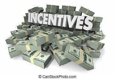 recompensas, oferta, dinero, incentivos, ilustración, pilas, 3d