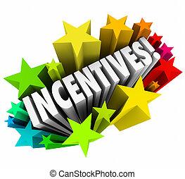 recompensas, palabra, fuegos artificiales, incentivos, ...