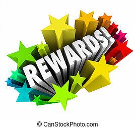 recompensas, palabra, premio, prima, incentivo, estrellas, ...