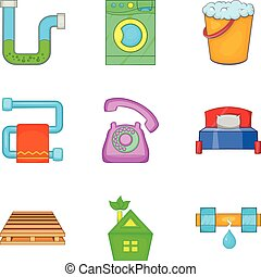Reconditioning icons set, cartoon style - Reconditioning...