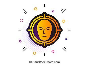 reconhecimento, alvo, detectar, vetorial, icon., sinal., rosto, cabeça