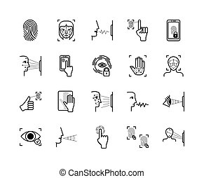 reconnaissance, balayage, paume, figure, voix, système, ...