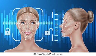 reconocimiento, exploración, vector, niña, biometric, cara